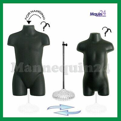 Black Child Toddler Torso Dress Forms Set 2 Hangers 1 Acrylic Stand