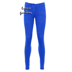 WOMENS LADIES COLOURED SKINNY FIT STRETCH JEANS JEGGING TROUSERS PLUS SIZE UN