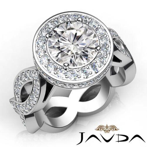 Round Diamond Engagement Halo Pave Splendid Ring GIA F SI1 14k White Gold 2.8ct