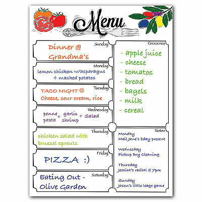 Magnetic Menu Dry Erase Refrigerator Whiteboard - Meals, Groceries, Note