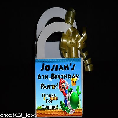 MARIO BROTHERS Personalized 12 Favor Boxes Birthday Party 3