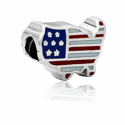 - United State Flag Territory Big Hole Charm Bead For Necklace Bracelet Chain
