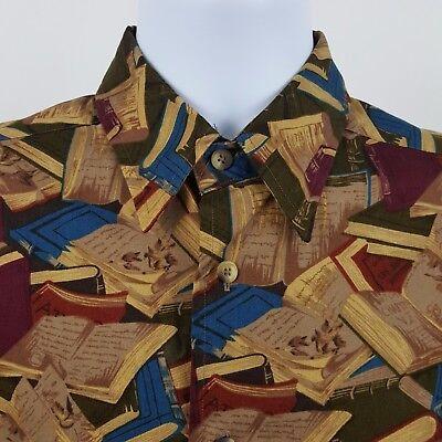 Nautica Multi Color Book Library Pattern Mens L/S Casual Button Shirt Sz Small S