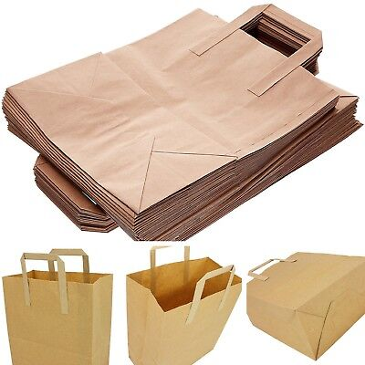 NEW 50 Natural Brown Paper Carrier Bags Flat Handles Carry Holding Recyclable