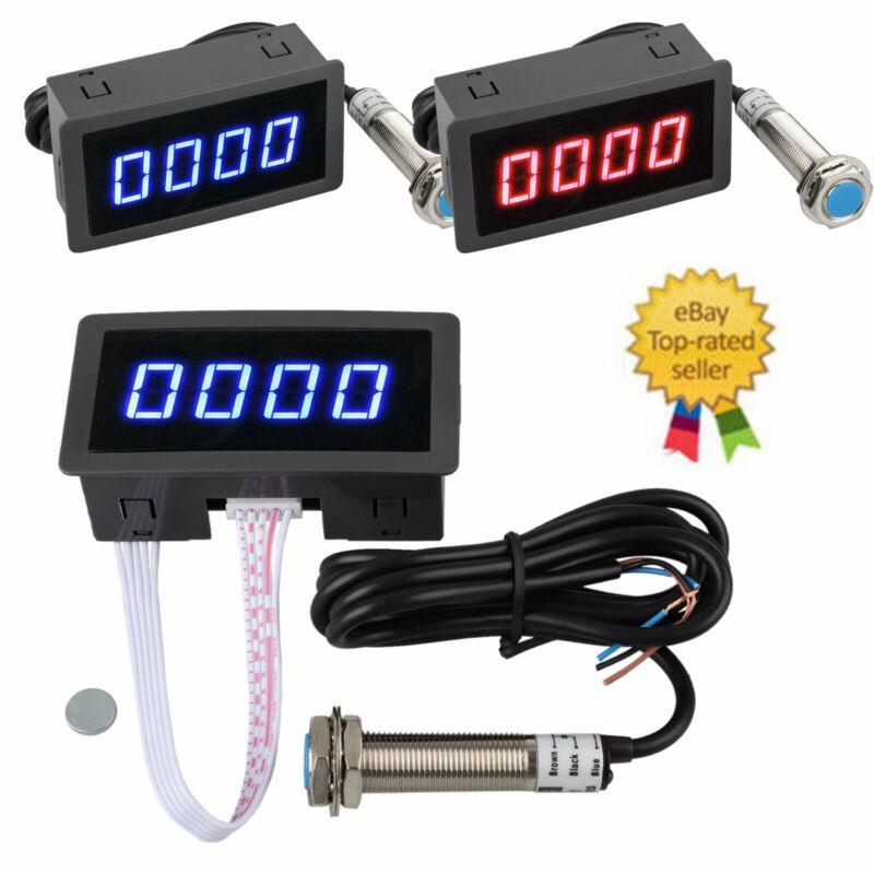 1PC 4 Digital LED Tachometer RPM Speed Meter + Hall Proximity Switch Sensor NPN