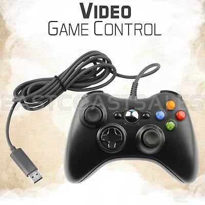For Microsoft Xbox 360 & Windows PC USB Wired Video Game Controller Pad Black