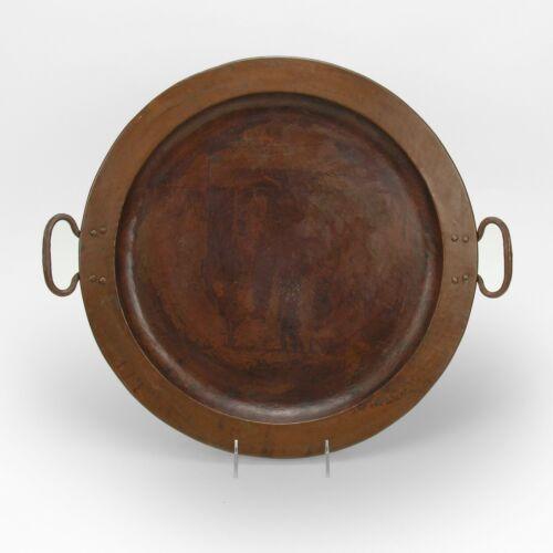 Gustav Stickley Craftsman workshops hammered copper handled tray arts & crafts