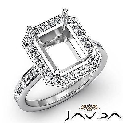 Diamond Engagement Filigree Ring Emerald Semi Mount Platinum 950 Halo Pave 0.5Ct