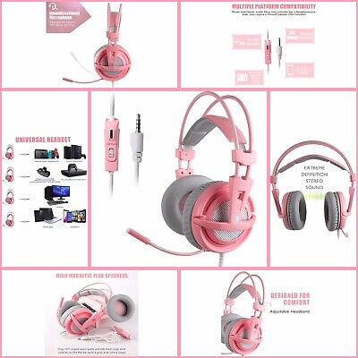 SUPSOO Pink Gaming Headset for Xbox One, PS4, 3.5mm Over Ear Pink w Microphone