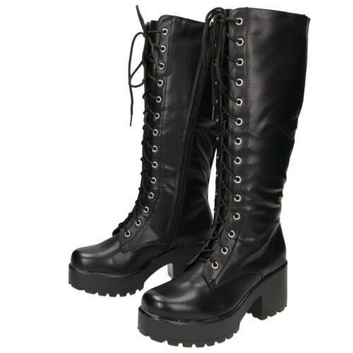 Chunky Boots Heel Platform Black Knee