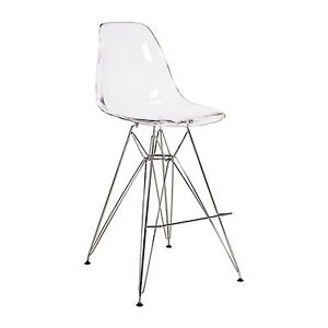 Counter Height Eames : Eames Style DSW Counter Stool Metal Base Clear Seat 27.5 Seat Height ...