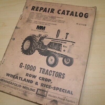 Minneapolis Moline Mm G-1000 Tractor Spare Parts Book Catalog Manual Book Farm