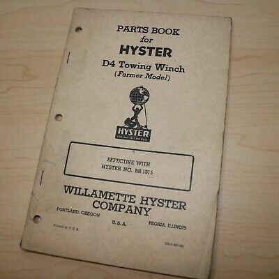 Hyster D4 Br New Thirty Tractor Winch Owner Parts Maintenance Manual Crawler 30