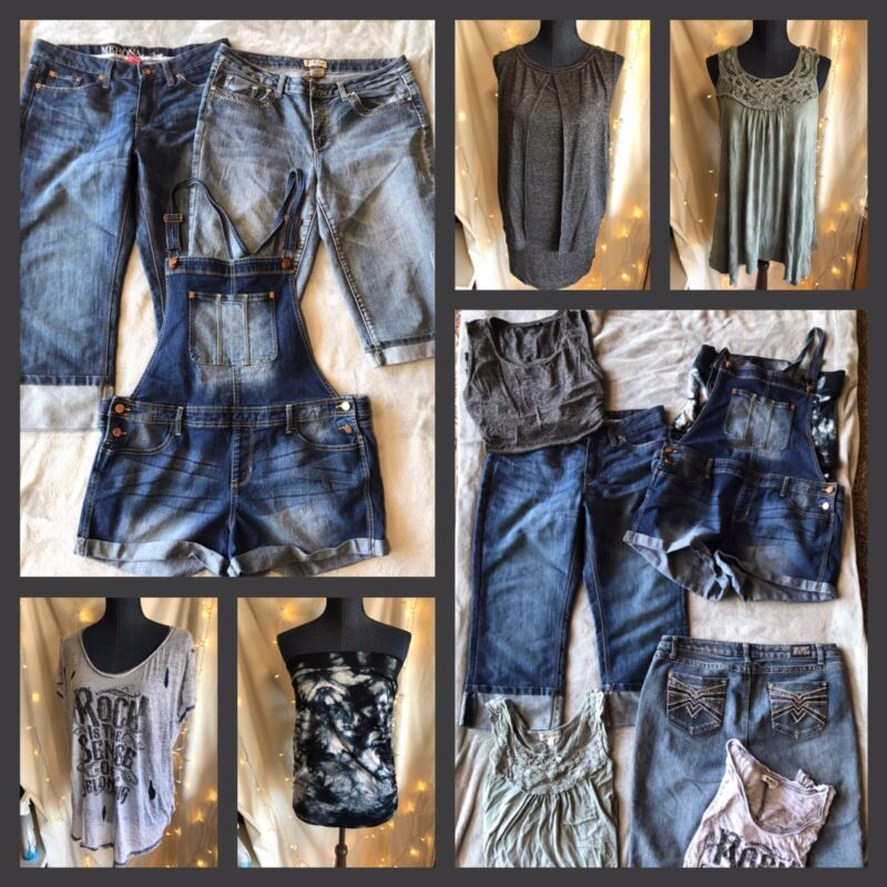 Womens Plus Size Summer Lot Of Capris Overalls Tops Preowned (7) Items