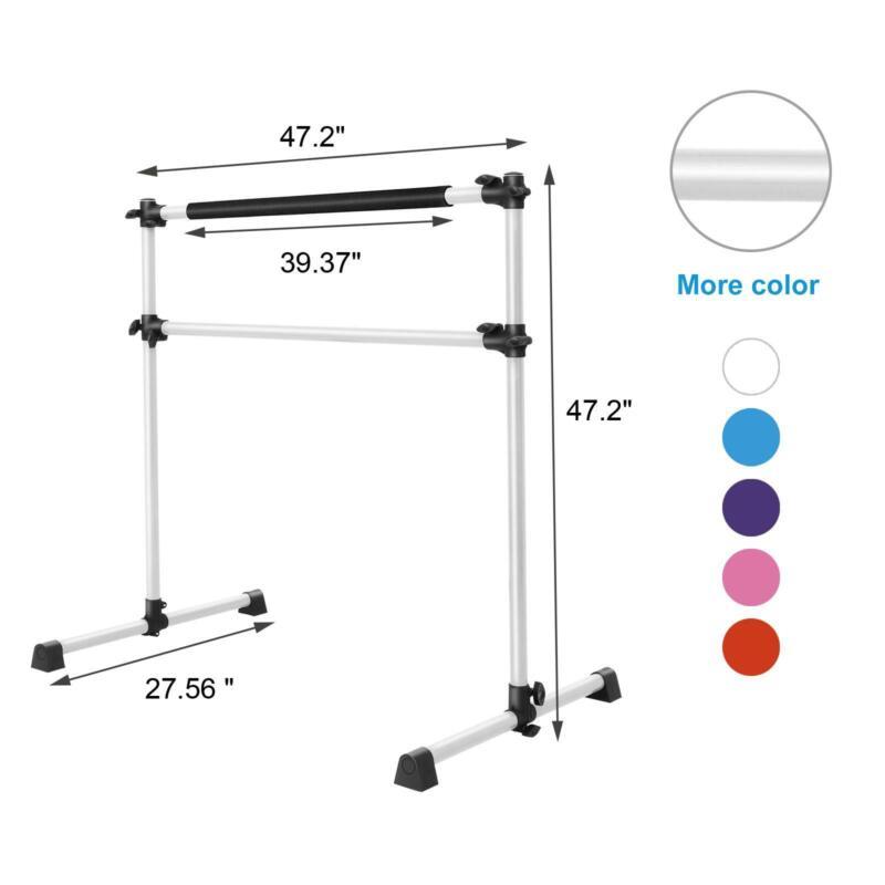 "48"" Ballet Barre Yoga Stretch Fitness Dance Bar Pole Portable Freestanding White"