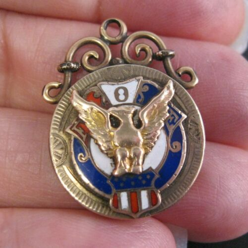 Victorian Antique FOE Fraternal Order of Eagles Watch Fob Pendant Charm GF