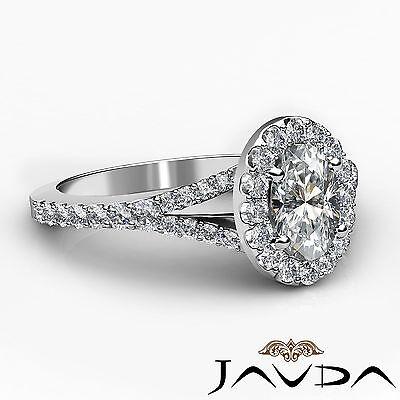 Halo Oval Natural Diamond Engagement Split Shank Prong Ring GIA F VVS2 1.21 Ct 2