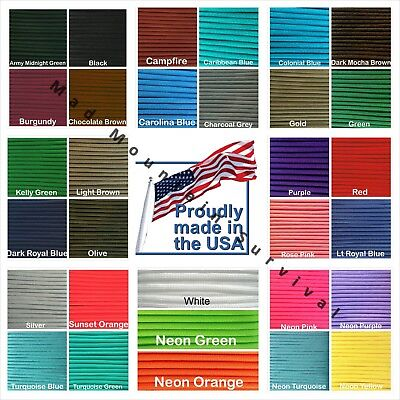 Paracord Type III 7 strand 550 parachute cord 1 10 20 50 100 1000 ft 7 Strand Parachute Cord