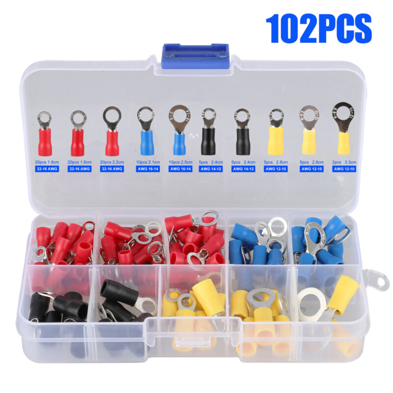 102PCS Insulated Electrical Wire Splice Terminal Spade/Crimp/Ring Connector Kit