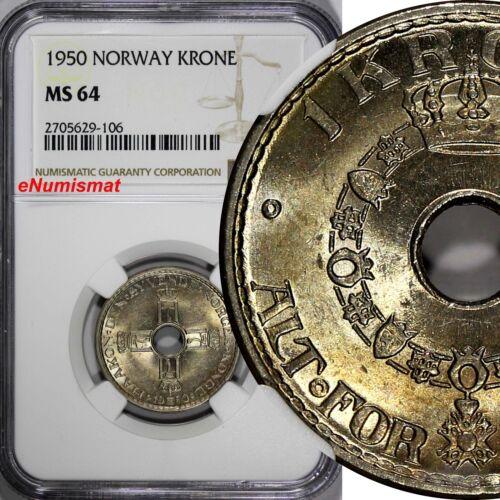Norway Haakon VII Copper-Nickel 1950 1 Krone NGC MS64  KM# 385 (106)