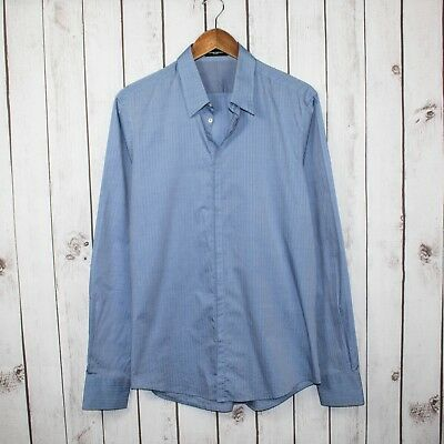 CoSTUME NATIONAL Homme Super Slim Fit Button Front Shirt Blue Shadow Stiped 16.5