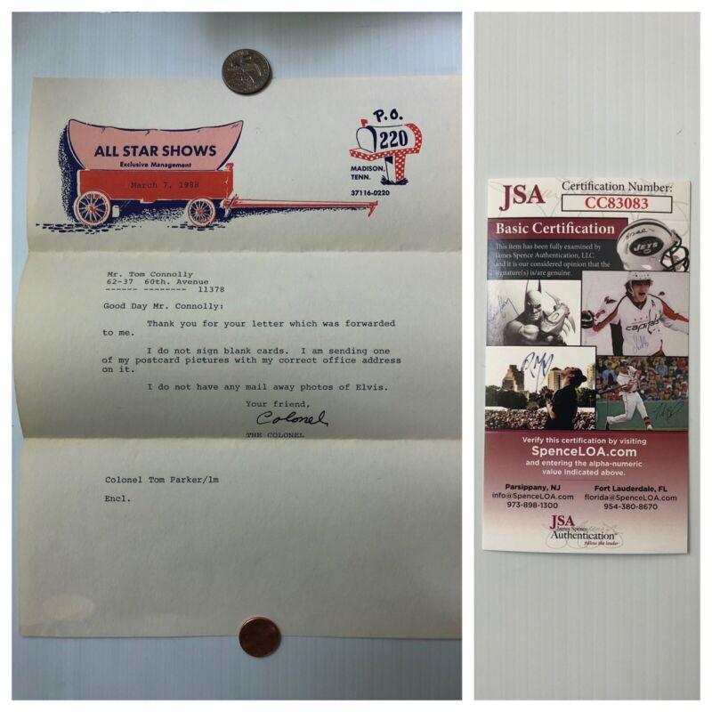 Elvis Presley Mgr Colonel Col Tom Parker Typed Signed Letter TSL JSA - FREE S&H!