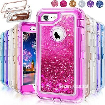 For iPhone 6S 7 8 Plus Defender Liquid Glitter Shockproof Case Fit Otterbox Clip