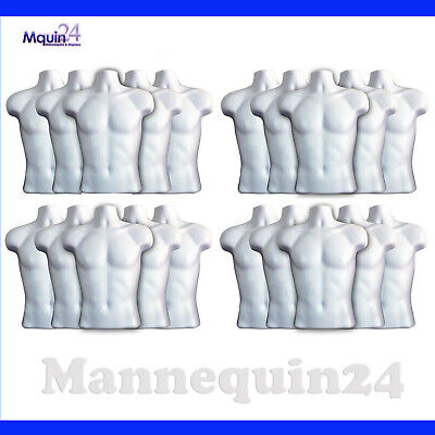20 Pack Torso Mannequin Body Form White Male Whooks - Men Hanging Dress Display