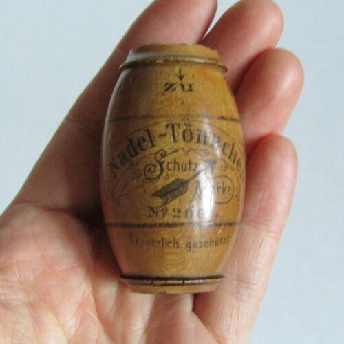 Antique GERMAN NEEDLE CASE Figural Miniature Beer Barrel Sewing Holder Victorian