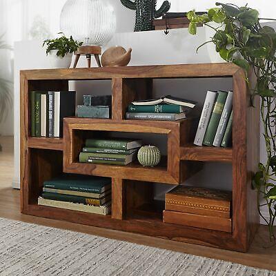 Massivholz Raumteiler (FineBuy Bücherregal 105 x 35 cm Sheesham Massivholz Regal Raumteiler Standregal)