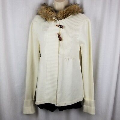 takeout womens hooded sweater jacket size XL ivory faux fur trim (Fur Trim Sweater Jacket)