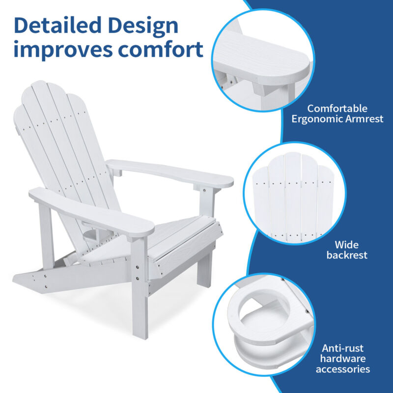 Adirondack Chair Resin Outdoor Furniture Patio Pool Side Garden Cupholder