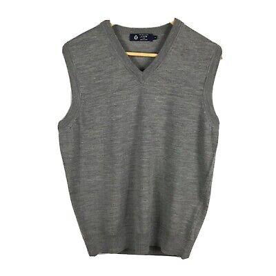 J.Crew Men's 100% Merino Wool Light Gray Golf V Neck Sweater Vest Lightweight