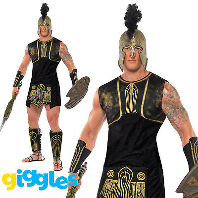 Mens Achilles Roman Gladiator Costume Greek Soldier Warrior Fancy Dress Outfit - Greek Soldier Costume