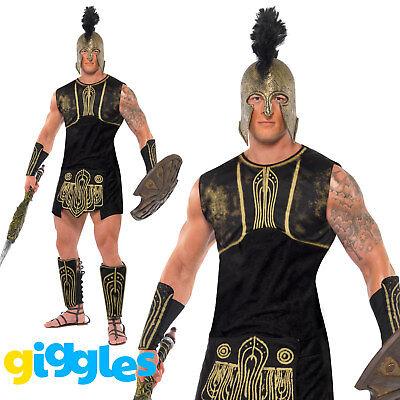 Mens Achilles Roman Gladiator Costume Greek Soldier Warrior Fancy Dress Outfit