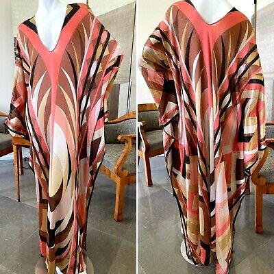 Emilio Pucci Lurex Metallic Pattern Plunging Caftan Style Dress