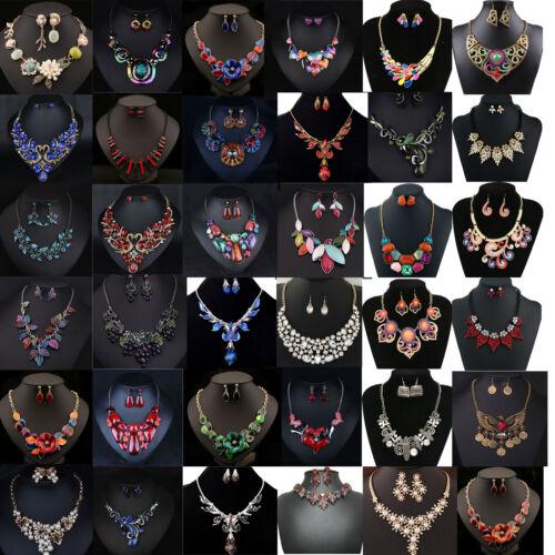 Necklace - Women Fashion Jewelry Pendant Crystal Choker Chunky Statement Chain Necklace Set