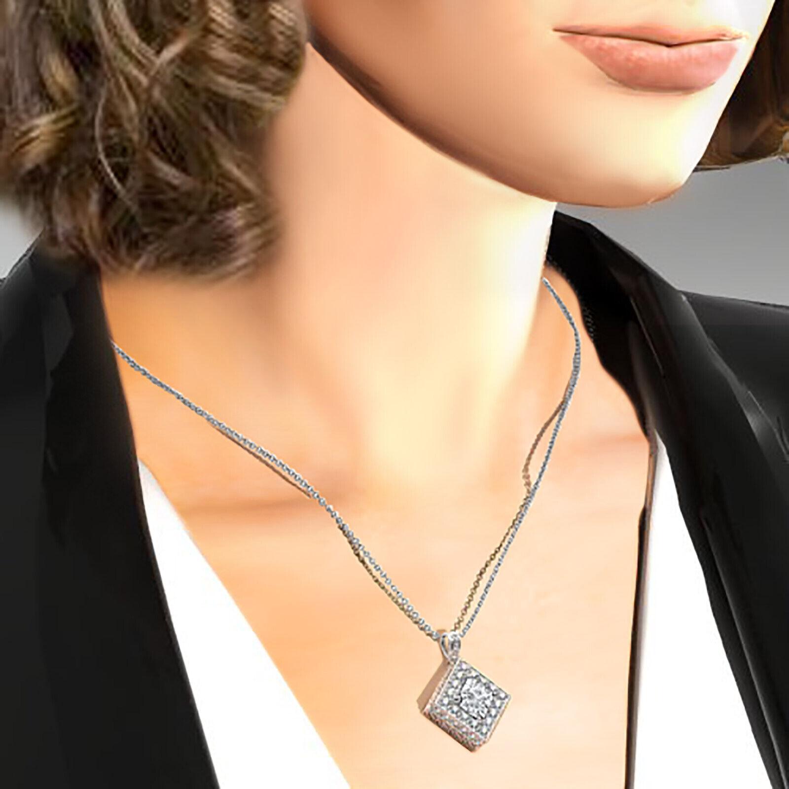Kite Style Halo Princess 100% Natural Diamond Filigree Pendant Necklace 1.17ctw. 6