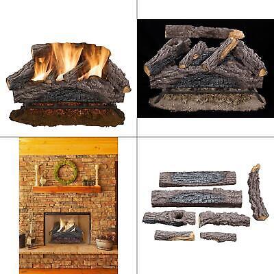 24 in. charred river oak vented natural gas log set | fireplace logs burner dual