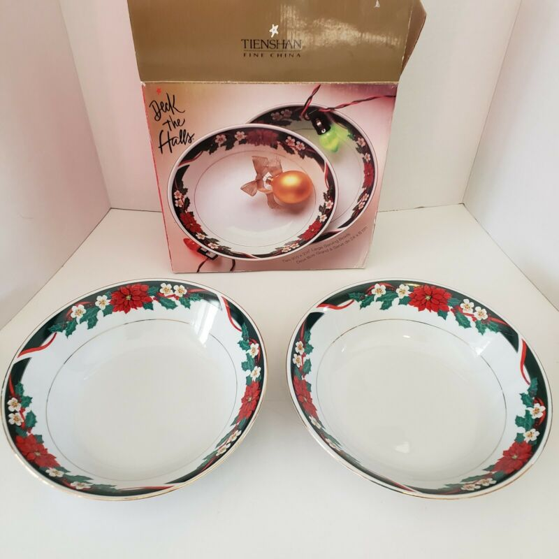 2 Tienshan Deck the Halls Poinsettia vegetable serving bowls in box