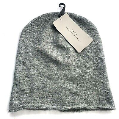 Zara Men's Winter Ski Knit Cap Hat Stripes Black Gray One Size New