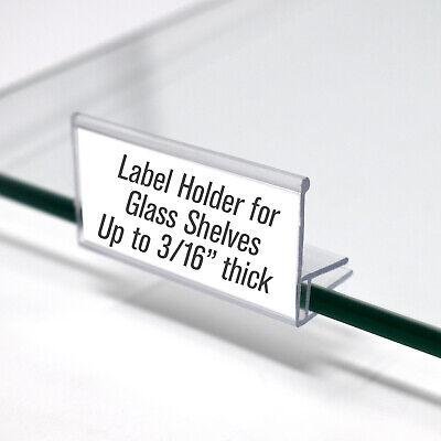Glass Shelf Label Holder 2 Long - For Shelves 14 Or 316 Thick - Pack Of 50