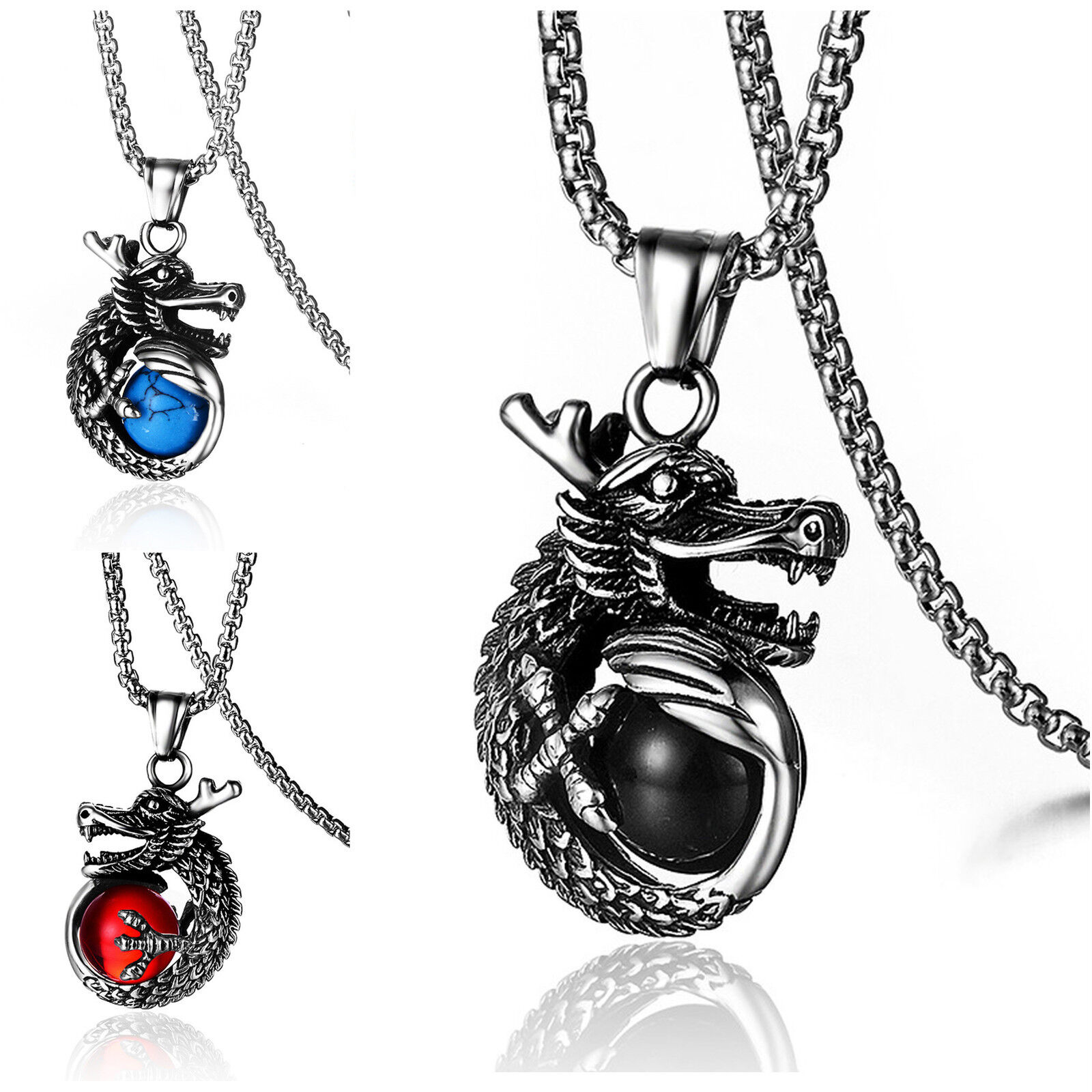 Men's Stainless Steel Dragon and Glass Ball Biker Pendant Necklace Chains, Necklaces & Pendants