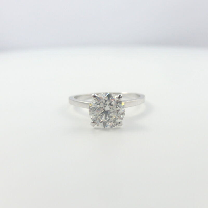 Diamond Round Ring 18k White Gold 4 Prongs Solitaire Certified 3 Ct Vvs1 D