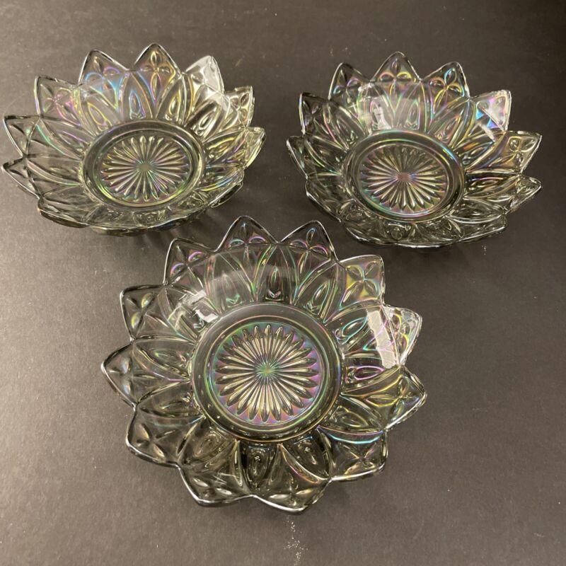 Carnival Glass Appetizer Serving Bowls Star Flower Petal Set of 3 Vintage Glass