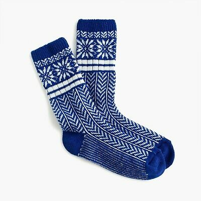 NEW J. Crew Women's Trouser socks in snowflake Fair Isle in Regal Blue K6538