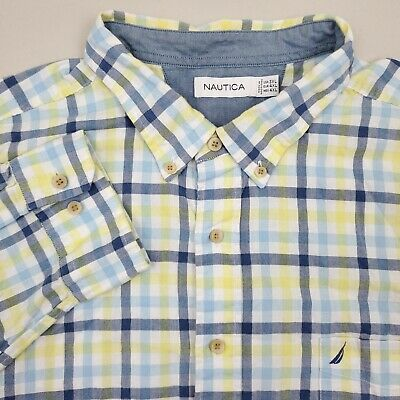NAUTICA Mens Button Down Shirt Long Sleeve Size 3XL XXXL Plaid Yellow Blue White