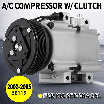 SET AC Compressor and Clutch Fits 2002-2005 Kia Sedona 3.5L DOHC V6 58119 Work