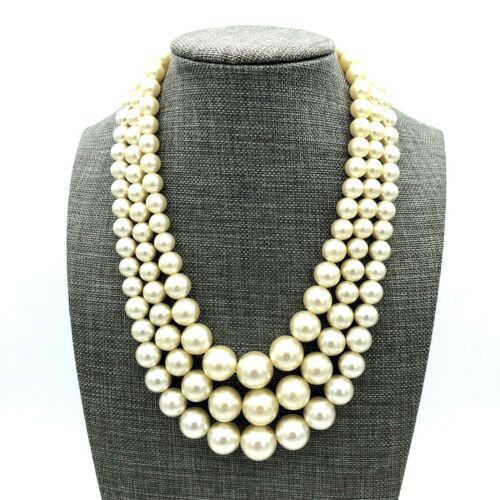 Faux Pearl Necklace Graduated 3-Strand Silver Tone Vintage Japan