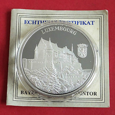LUXEMBOURG 1996 EUROPE COMMEMORATIVE 40mm .999 FINE SILVER PROOF MEDAL - coa